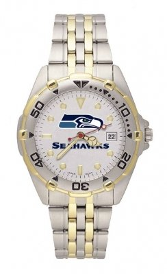 Seattle Seahawks LogoArt Two Tone Allstar Bracelet Mens NFL Watch by LogoArt