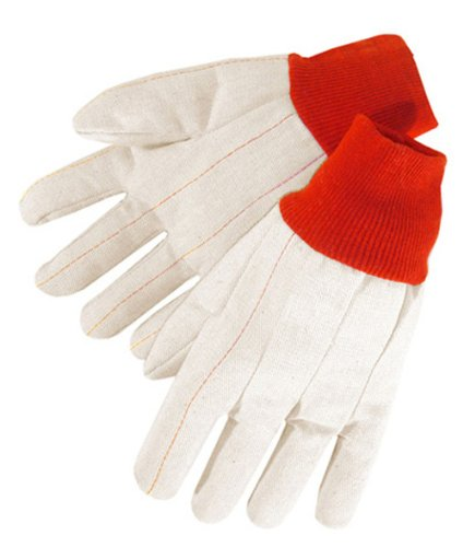 Liberty 4518R 20 oz Nap-In Cotton Double Palm Canvas Men's Glove with Red Knit Wrist (Pack of 12) ()