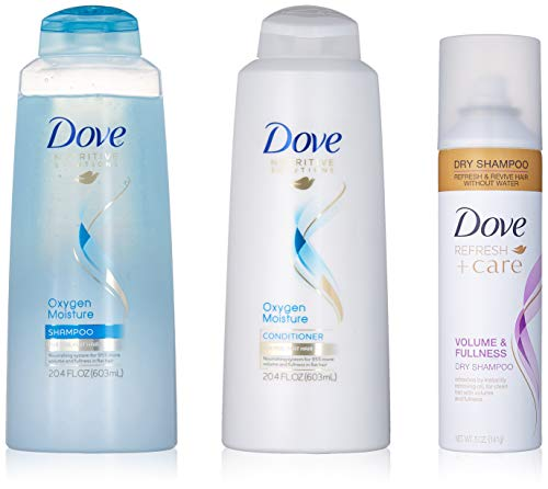Dove Set - Dove Beauty Set, Oxygen Moisture Shampoo and Conditioner plus Dry Shampoo