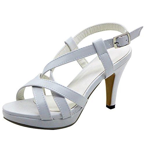 COOLCEPT Mujer Moda Gladiator Strappy Bootie Strappy Sandalias Tacon De Aguja Peep Toe Blanco