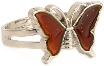 Arsmt Mood Ring Adjustable Butterfly Emotion Feeling Anxiety Release Temperature Color Change Finger Rings with Box