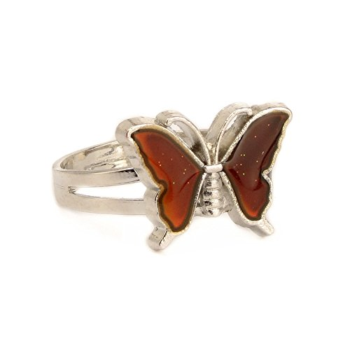 stable Butterfly Emotion Feeling Anxiety Release Temperature Color Change Finger Rings with Box (Butterfly Mood Ring)