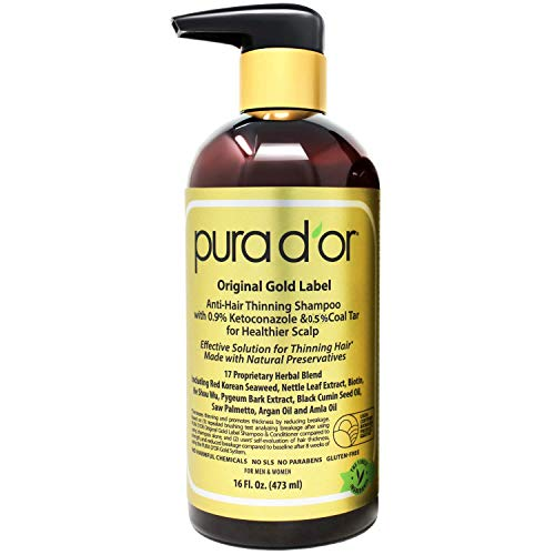 PURA D'OR Anti-Hair Thinning Shampoo - Dandruff & Thinning Hair 0.9% KETO-CONAZOLE & 0.5% Coal Tar, Biotin Shampoo for Dry & Itchy Scalp, Sulfate Free, Men & Women, 16 Fl Oz (Packaging May Vary)
