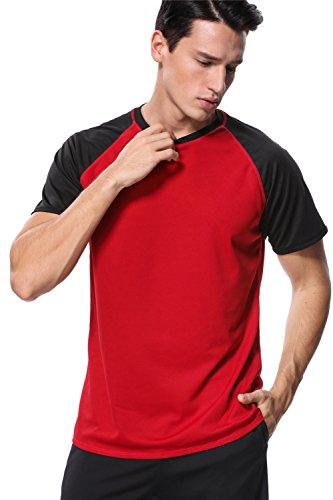 (anfilia Mens Raglan Short Sleeve Swim Shirt Loose Fit Sun Shirt Surf Shirt Red Large)