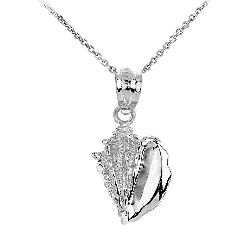 925 Sterling Silver Sea Shell Charm Pendant Necklace, 16