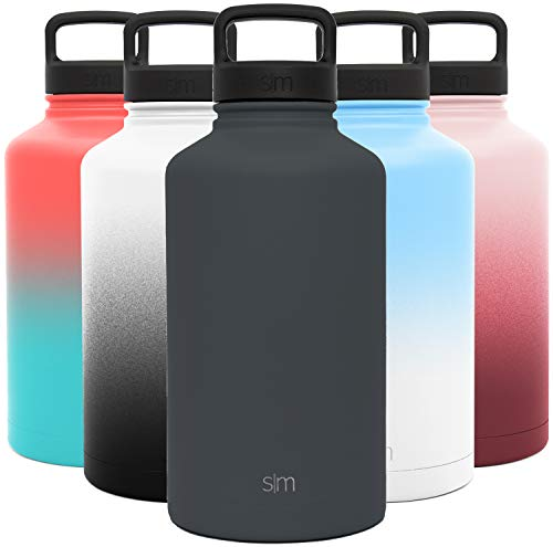 Simple Modern Water Bottle Reusable Summit Wide Mouth Stainless Steel Thermos Flask, 64oz Handle Lid, Graphite