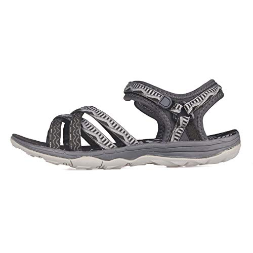 Pictures of GRITION Women Hiking Sandals, Outdoor Girl Sport Summer Flat Beach Water Shoes Open Toe Adjustable Walking Shoes (11 US, Black/Grey) 7