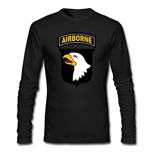 Ambulseek GHRY T Army 101st Airborne Division Mens Long Sleeve T-Shirt Crewneck Cotton Shirts Tee Black ()