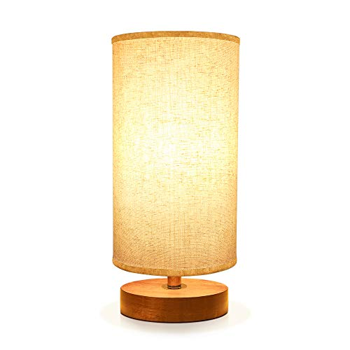 Seealle Bedside Table Lamp, Solid Wood Nightstand Lamp, Bedside Desk Lamp, Minimalist Simple Desk Lamp With Linen Fabric Shade for Bedroom, Living room, Coffee Table, Office, Dinning Table
