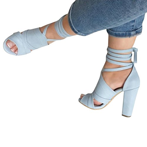 Minetom® Womens Strappy Sandals Block High Heel Ladies Ankle Party Evening Summer Bandage Sweet Fashion Prom Shoes B Blue rQcMdS