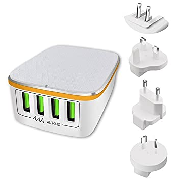P Cargador USB Multiple, Adaptador Enchufe de Viaje Universal con 4 Puertos USB inglés/eeuu/EU/AUS Enchufe, 22W 4,4A Internacional Cargador para iPad, ...
