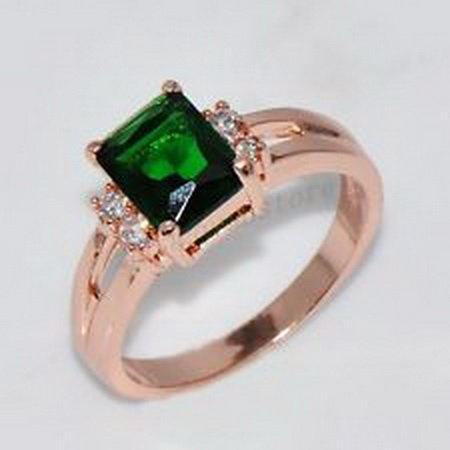 jacob alex ring 9*6mm Green Ring Size 7 CZ Emerald Crystal Women's 10Kt Rose Gold Filled by jacob alex