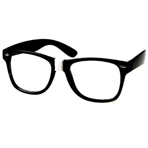 zeroUV - Retro Geek Nerd Color Tape Steve Urkel Horn Rimmed Clear Lens Glasses (White)