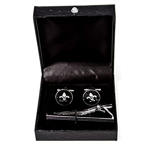 MRCUFF Fleur-de-LYS Fleur De Lis Pair Cufflinks & Tie Bar Clip in a Presentation Gift Box ...(Fleur tie)