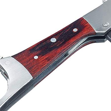 Westmark Sacacorchos, 4 funciones, Monopol Edition, Acero inoxidable/silicona/madera, Agilo, Plata/marrón, 60143360, Stainless Steel