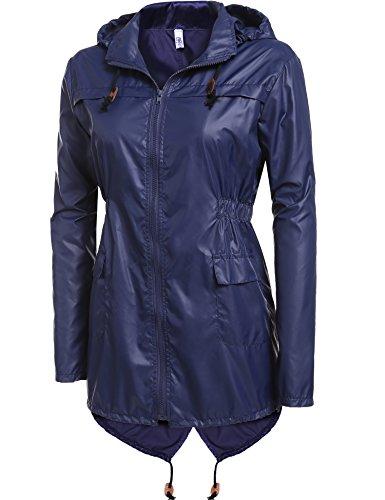 Meaneor Women's Waterproof Raincoat Outdoor Hooded Rain Jacket Solid_Navy Blue XXL