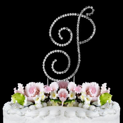 RENAISSANCE MONOGRAM WEDDING CAKE TOPPER LARGE LETTER P