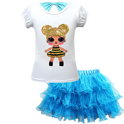 WNQY Girls Surprise Princess Shirt and Skirt Set Doll Dress for Doll Surprised (130/5-6Y, Blue)