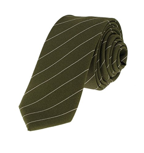 Glennbrook Men's Slim Cotton Necktie Pencil Pinstripe Collection Dark Olive (Olive Pinstripe Suit)