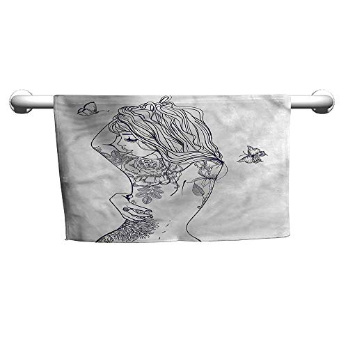 - flybeek Girls,Young Girl with Tattoo,Towel for Curly Hair
