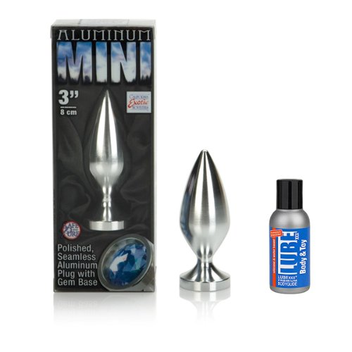 "California Exotic Aluminum Mini Butt Plug, 3"" & LUBExxx Premium Body & Toy Lubricant (50ml)Aluminum Mini Butt Plug, 3"" & Apronal, Herbal Anal Relaxer Spray - Non Numbing! - KIT"