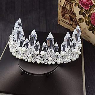 Quantity 1x bride luxury crystal _ice- crystal - Rhinestone ing Headband pearl Crown Tiara Party Wedding Headband Women Bridal Princess Birthday Girl Gift Headdress jewelry _. ()