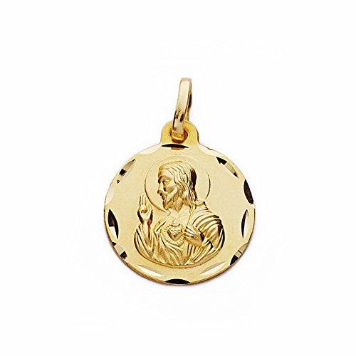 Médaille pendentif 18k 16mm en or Coeur de Jésus. sculpté sculptée [AA2489GR] - personnalisable - ENREGISTREMENT inclus dans le prix