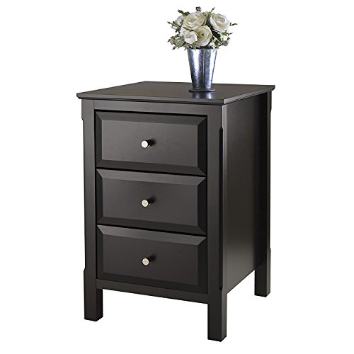 Small Accent Table For Small Places Square Black Premium Wood Night Stand With 3 Drawers Storage