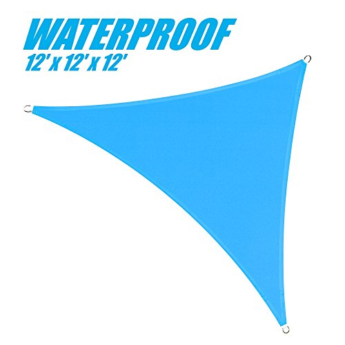 ColourTree 100% Blockage Waterproof 12' x 12' x 12' Blue Triangle Sun Shade Sail Canopy  - Commercial Standard Heavy Duty - 220 GSM - 4 Years Warranty