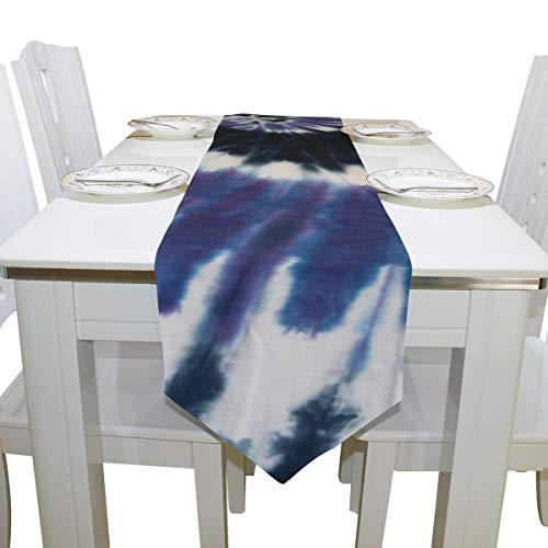 Bedroom Table Cover Swirl Design Tie Dye Fashion Cloth Cover Table Runner Tablecloth Kitchen Dining Room Home Decor Indoor 13x90 Inch Table Linens Kitchen