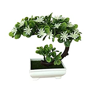 Yunt Simulation Moon-Shaped China Aster Plant Floral Potted Small Bonsai Home Decor Desktop Ornaments 84