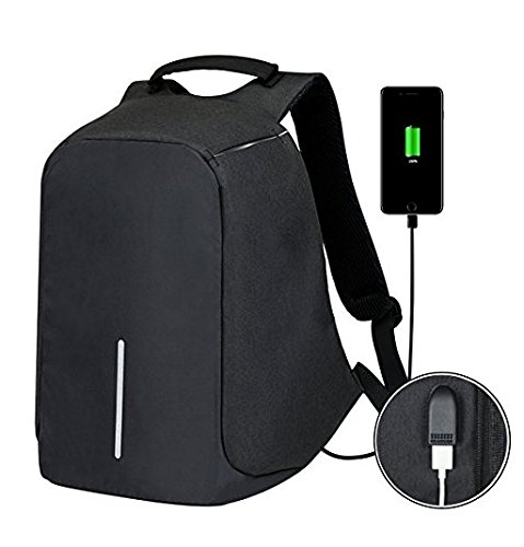 Anti-Theft Business Laptop Backpack Travel Daypack with USB Charging Port School Book Bag Fits 15.6 Inch Laptop Notebook for College Students Work Men & Women Size 12.59'' x 5.12'' x 16.53'' (Black)