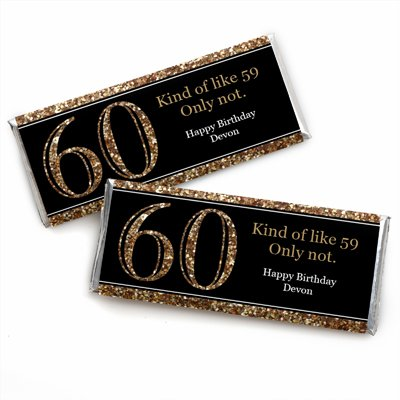 Custom Adult 60th Birthday - Gold - Personalized Birthday Party Favors Candy Bar Wrappers - Set of -
