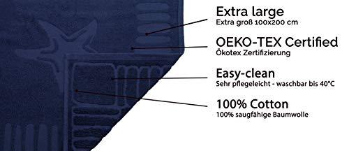 ZOLLNER Telo Mare 100/% Cotone Blu Marino Disponibile in Tanti Colori 100x200 cm