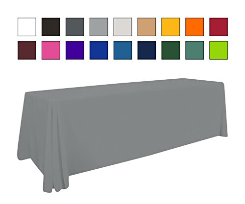 Buildasign Tradeshow 8' Gray Table Cover - Table Cloth - Table Throw