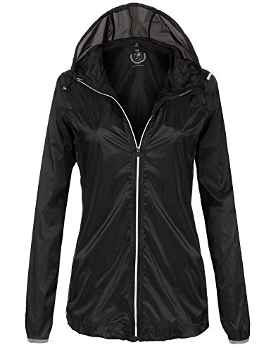 Waterproof Comfortable Lightweight Rain Jackets,094-Black,US L