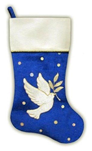 Velvet Decorative Christmas Stocking (Northlight Royal Blue and White Velvet Dove with Twig Decorative Christmas Stocking, 20.5