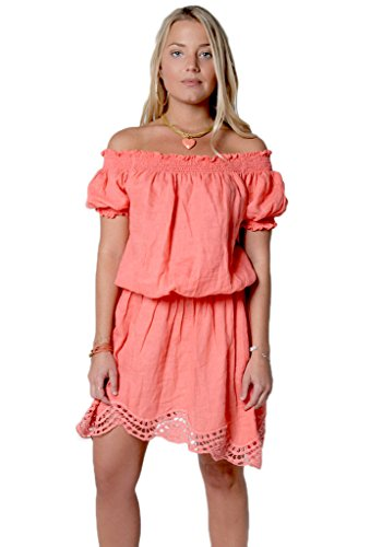 100 with Shoulder Peach the Elastic Sleeves Off Dress Claudio Milano Linen Women's 8xnwq11EYO