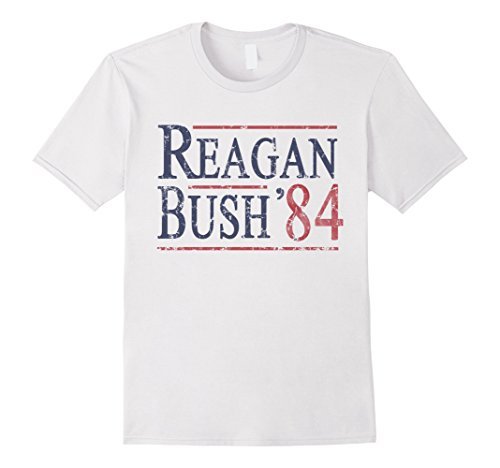 Men's Reagan Bush 84 T Shirt Large White (80s Clothing For Men)