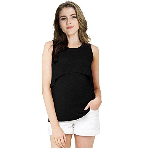 Donna 1 Gravidanza Pregnancy Top Maniche Puro Canotta LIOMENLA Popolare Senza Comoda Shirt L'Allattamento 2 Maglietta Black Moda Colore T in Estive Casual Fgnnad
