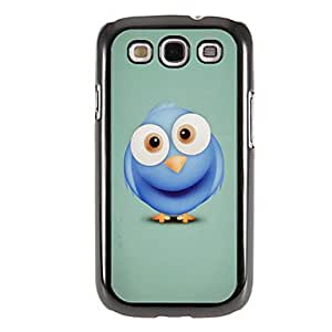 SHOUJIKE Blue Cute Owl Pattern Mirror Smooth Back Hard Case with HD Screen Film 3 Pcs for Samsung Galaxy S3 I9300