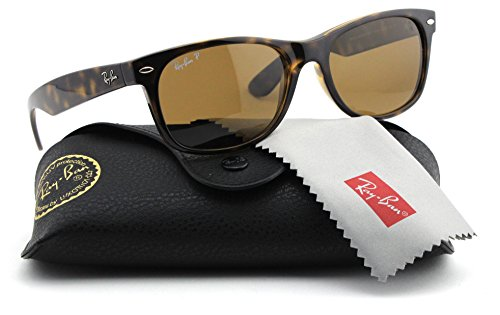 Ray-Ban RB2132 New Wayfarer Unisex Sunglasses Polarized (Tortoise Frame/Brown Polarized Lens 902/57, - Rb2132 New Wayfarer