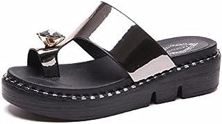 BTBTAV Plana En El Extremo Ranurado del Verano Gruesos Zapatos De Mujer Agua Fresca De Perforación Zapatillas UE 36 Blanco