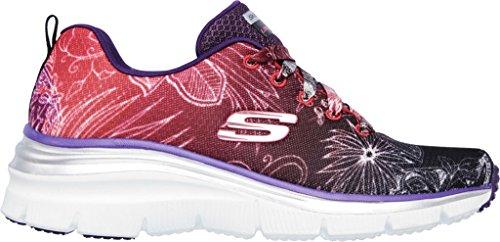 Zapatillas de deporte de las fiestas de jard�n de la manera de las mujeres de Skechers, negro / rojo