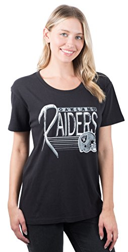Icer Brands NFL Oakland Raiders Women's T-Shirt Scoop Neck Short Sleeve Tee Shirt, Large, Black (Jersey Print Screen Classic)