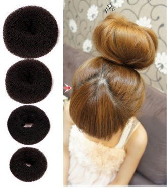 Start with a high, tight ponytail, and then slide the bun maker over the top of the ponytail holder. Flip your hair up and over the bun maker, and roll it all underneath. Finish by securing with a .