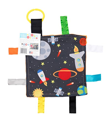 Baby Sensory Crinkle & Teething Square Lovey Toy with Closed Ribbon Tags for Increased Stimulation: 8X8  (Outer Space)
