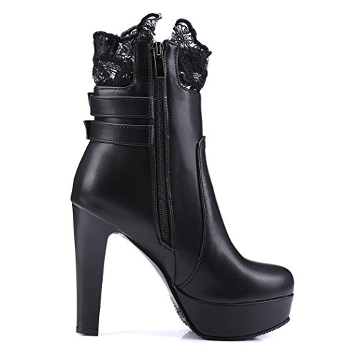 gran con di ultra e testa da numero pizzo alta elegante circolare inverno ZQ donna un spessore autunno QX black cintura stivali a fibbia In con scarpe di vnxwPqCR8