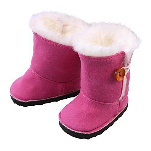 Momola 18 pouces Poupées américaines de fille mini chaussures en peluche hiver bottes de neige (Rose chaud)