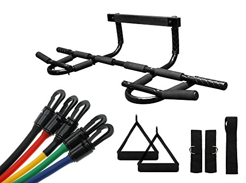 Wacces New Doorway Heavy Duty Chin Up Pull Up Bar With 5 Resistance Bands